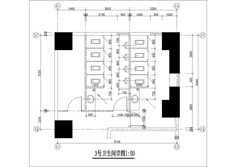 [图块/节点][深圳]某湾畔住宅小区楼群-裙房卫生间大样图片3