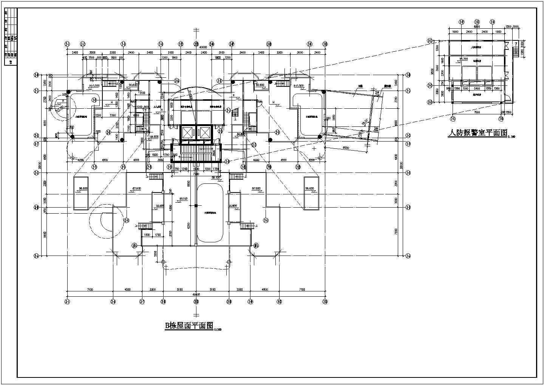 某人防工程设计cad图(地下一层平面图)图片3