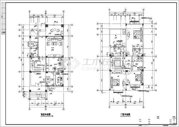 268㎡地上三层别墅建筑施工图(高11米)-图二