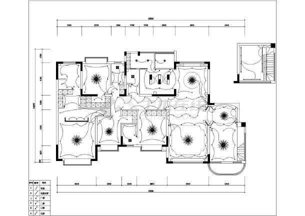 240平方美式大平层室内设计施工图全图-图一