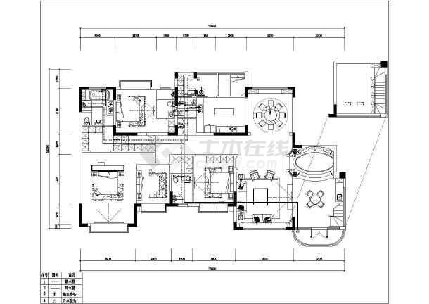 240平方美式大平层室内设计施工图全图-图二