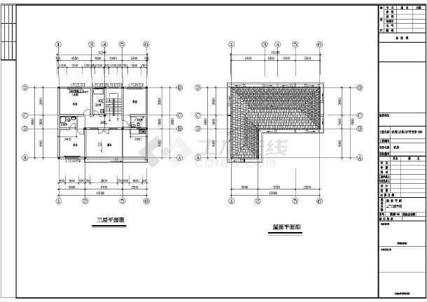 某三层别墅结构设计CAD图纸  总建筑面积327平方米-图二