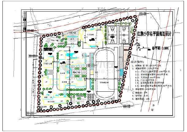 某地小学总平面规划设计CAD图 总建筑面积:10192平方米-图一