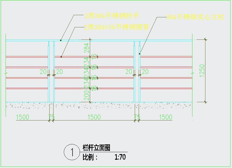 不锈钢栏杆大样图+排水沟做法CAD详图图片3