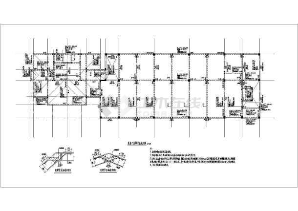 某三层钢筋混凝土框架结构库房及办公楼CAD设计详图-图一