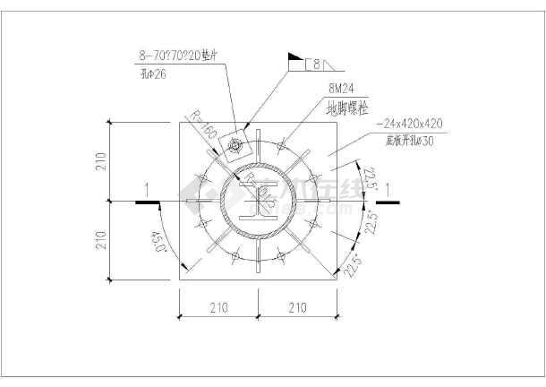 某景观入口门楼钢结构设计CAD图-图二