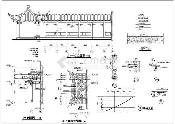 江南园林古建亭传统木结构建筑设计CAD图-图二