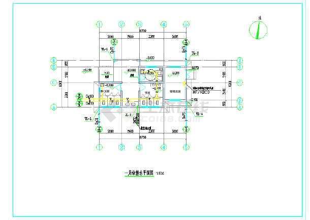 某城镇公共厕所给排水施工图(建筑面积65平方米)-图二
