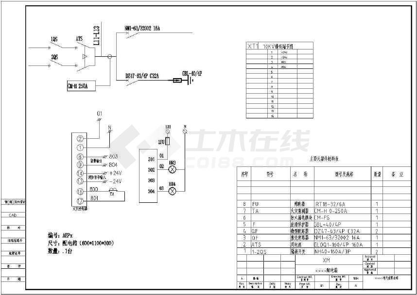 点击查看某10小区配电工程配电箱电气设计图第1张大图