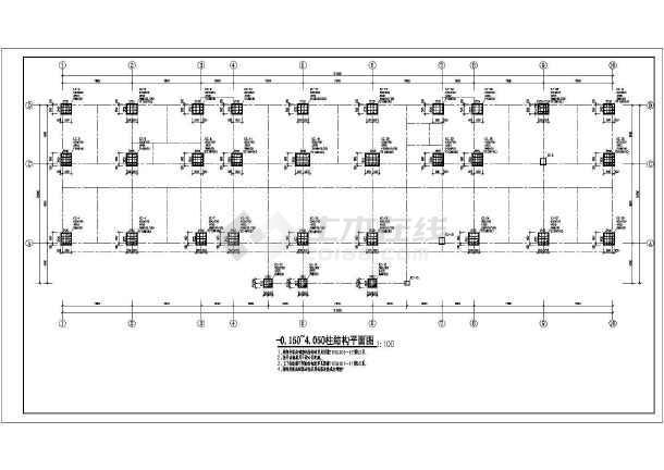 某地上五层框架结构办公楼CAD图纸-图二