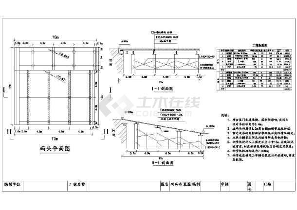 17x17m钢平台码头全套施工图(附施工方案计算书)-图一