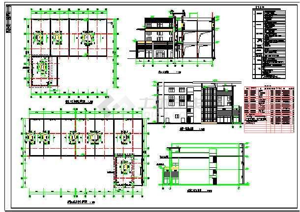 步行街三层沿街商业楼建筑施工图-图一
