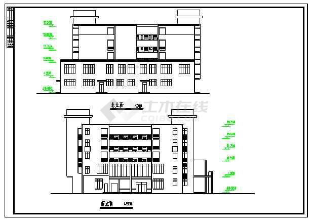 某中学五层宿舍楼建筑施工图纸-图一