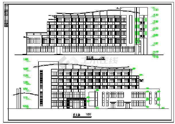 某中学五层宿舍楼建筑施工图纸-图二