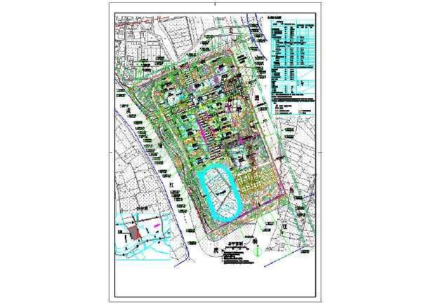 点击查看南方某中学规划设计总平面图第1张大图