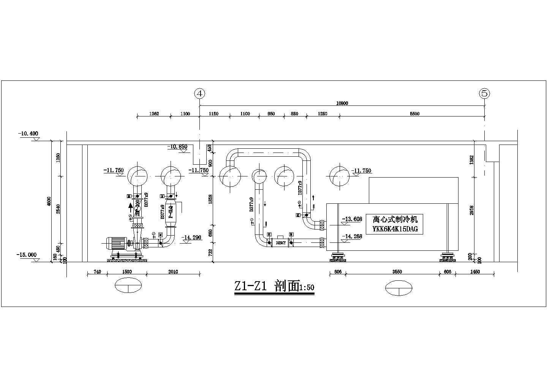 成都某百货商场制冷机房设计图图片2