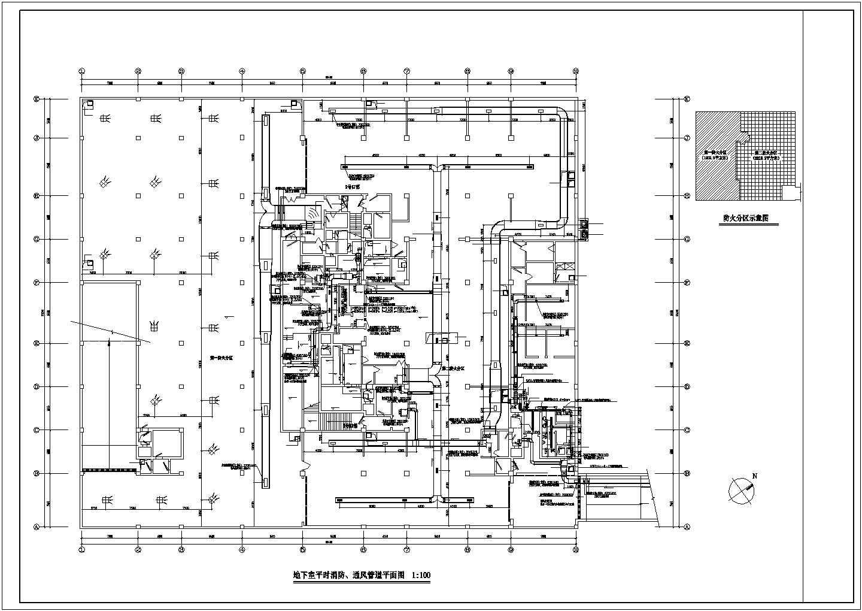 某地下室通风消防设计cad平面图图片1