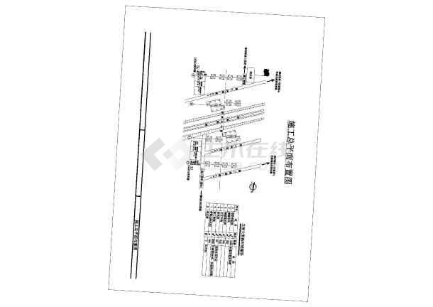 跨铁路转体桥施工现场总平面布置图CAD-图二