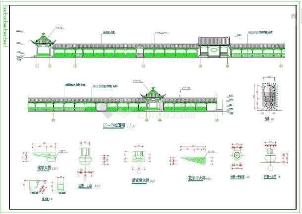 木亭长廊的建筑施工图纸(包含5套图纸) 园林景观亭-图一