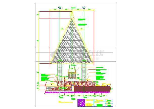 海南某酒店木质景观亭建筑施工图  建筑高度:9m-图二