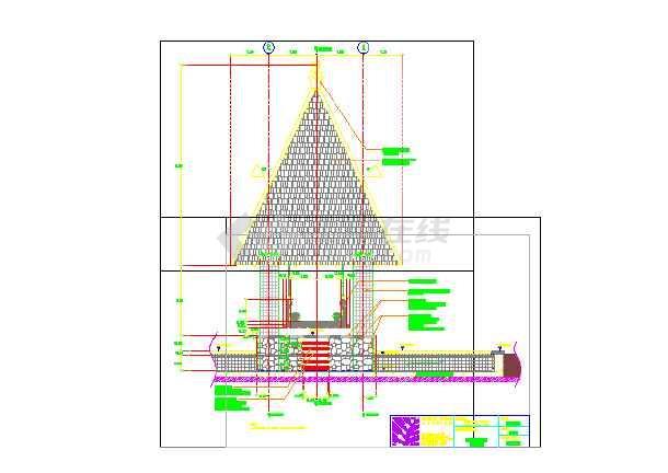 海南某酒店木质景观亭建筑施工图  建筑高度:9m-图一