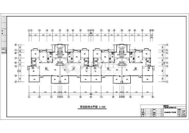 某五层情景洋房给排水施工cad图-图二