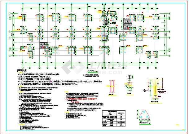 某地上七层框架结构医院结构施工图纸(预应力管桩)-图一