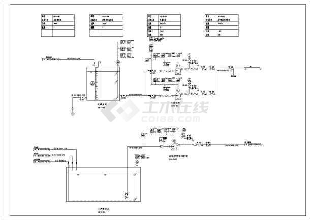 某污水厂工艺流程图及平面布置设计图-图一