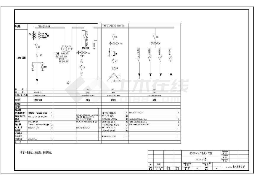 点击查看某工程1000KVA欧式箱变电气设计图第1张大图