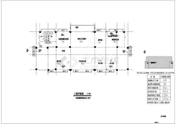 某三层框架结构文化站建筑施工图(建筑面积1095平方米)-图二