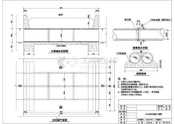 水利工程过路涵5种规格图  涵管直径,300mm、400mm、600mm、800mm和1000mm-图一