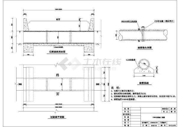 水利工程过路涵5种规格图  涵管直径,300mm、400mm、600mm、800mm和1000mm-图二