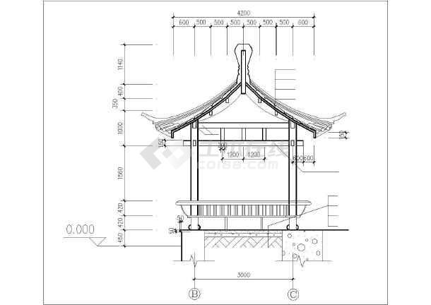 点击查看古建四角亭施工设计cad详图第2张大图