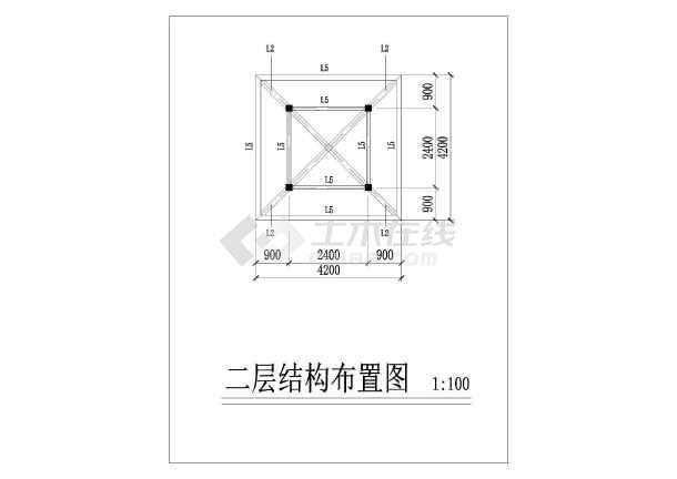 点击查看双层重檐亭施工设计cad详图第2张大图