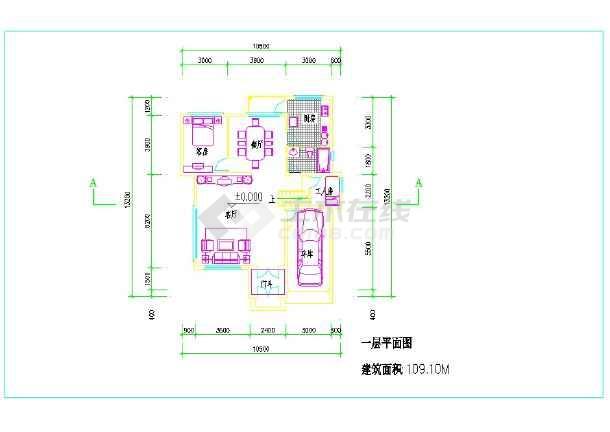 占地100平方三层农村小楼建筑图纸  (一层建筑面积:109平方米、二层建筑面积:100平方米、三层建筑面积:64平方米)-图一