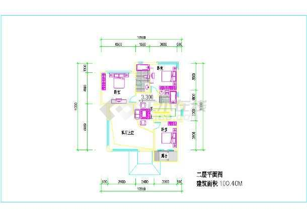 占地100平方三层农村小楼建筑图纸  (一层建筑面积:109平方米、二层建筑面积:100平方米、三层建筑面积:64平方米)-图二