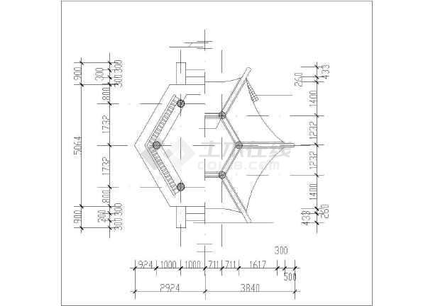 仿古风格六角重檐古建亭设计cad详图-图二
