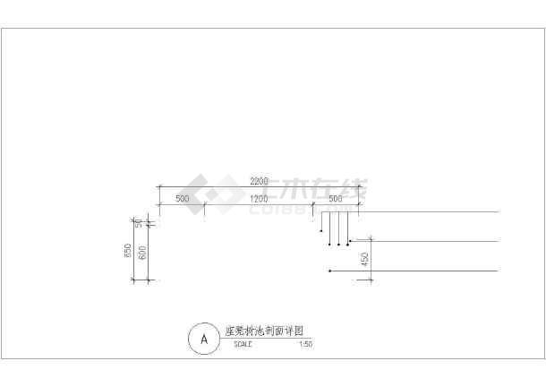 某园林公园座凳树池设计cad详图-图二
