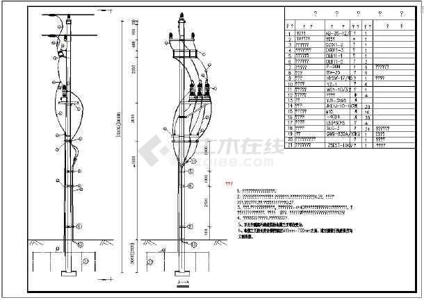 点击查看10KV杆上断路器CAD图纸第1张大图