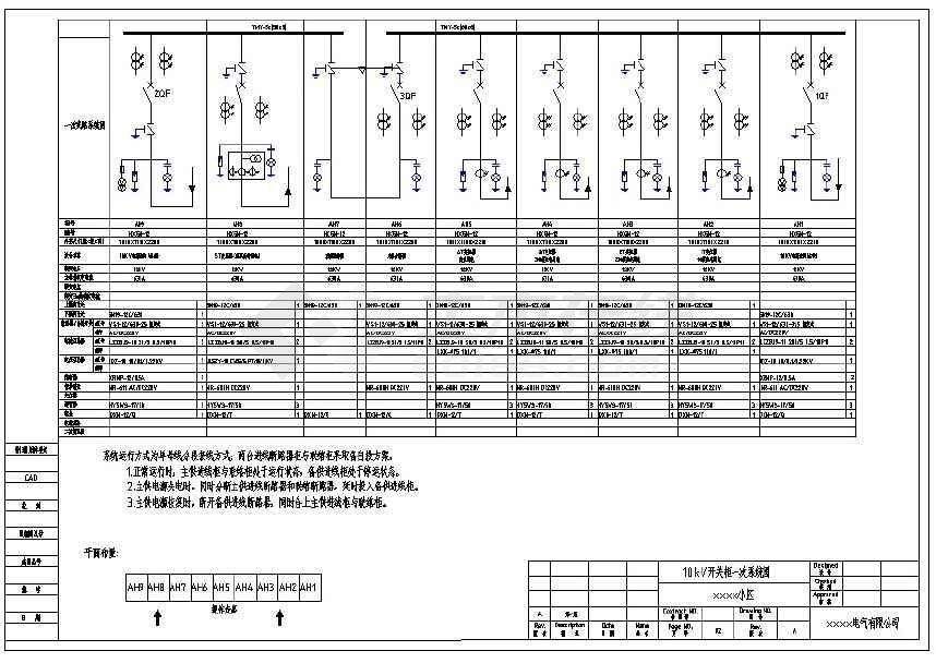 某住宅小区配电房9台高压环网柜电气设计图-图一
