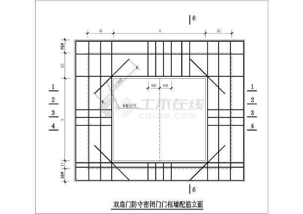 人防门框墙大样及配筋表CAD图-图二