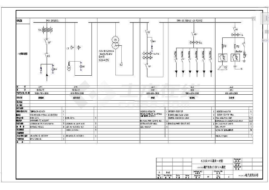 点击查看某棚户改造工程630箱变电气设计图纸第1张大图
