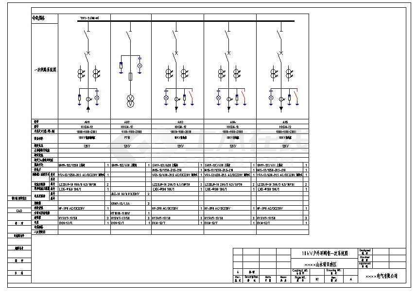 某山水项目用电工程5台高压环网柜电气图-图一