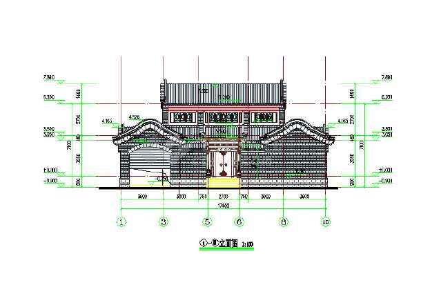 明清风格四合院建筑施工图(仿古建筑)-图二