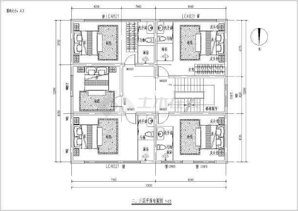 江西农村某三层开间民房室内设计图  1楼两室一厅、2楼4室1厅-图一