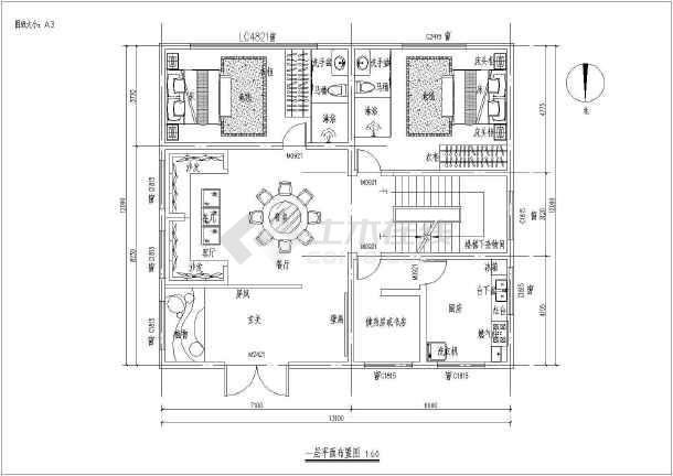 江西农村某三层开间民房室内设计图  1楼两室一厅、2楼4室1厅-图二