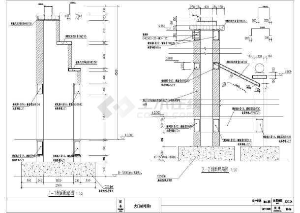 点击查看不锈钢电动伸缩门大门建筑结构施工图第1张大图