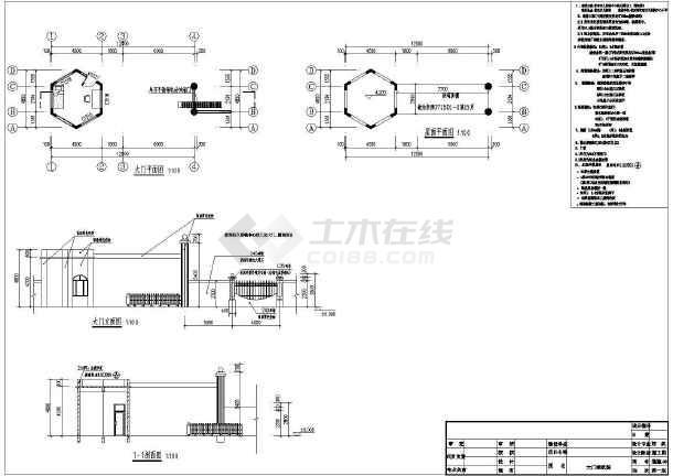 幼儿园(大门、围墙)建筑结构图-图二