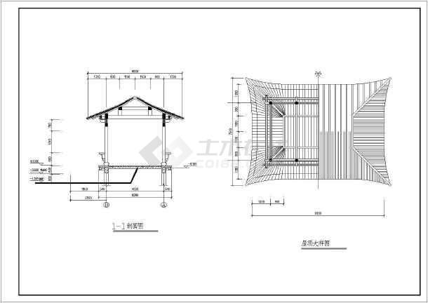 水榭施工设计cad详图,含设计说明-图二