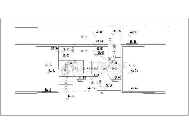 车库台阶施工设计cad详图(包括放线竖线平面图)-图一
